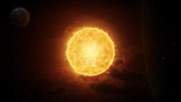 Futuristický vesmír s zářným jasným sluncem