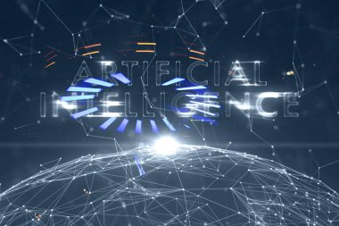 Artificial intelligence word on abstract cyberspace background.