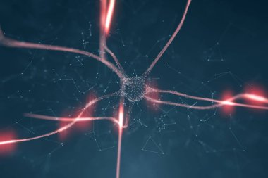 Artistic red colored neuron in brain on black background