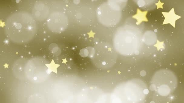Krásná zlatá barva bokeh s hvězdou tvary pozadí pohybu a sněžení.