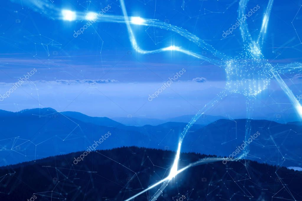 Conceptual brain neuron cell network on blue mountain landscape background.