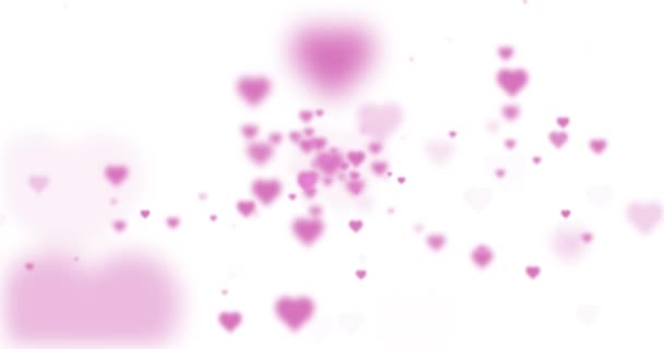 Lovely abstract blurred pink colored hearts on white background.