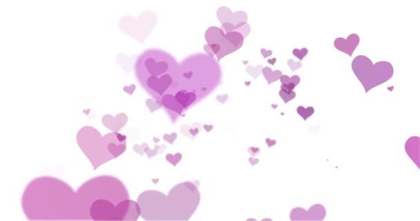 421ff8289747 Krásné Rozmazané Růžové Barevné Srdce Létající Kolem Bílém Pozadí ...