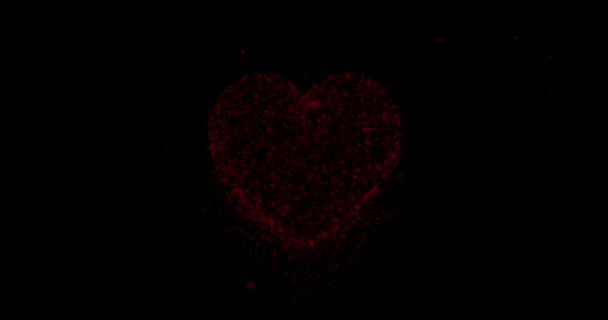 Beautiful abstract big red heart shape movement on black background.