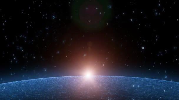 Umělecké počítač binární čísla data s pozadím sunny sítě pohybu koule. Pohled z vesmíru.