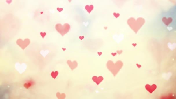 Rred színű foltos Valentin napi szívek illusztráció háttér.
