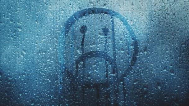 Sad Upside Smiley Hand Drawn Symbol Wet Rainy Glass Background Stock Video C Robsonphoto 239913264