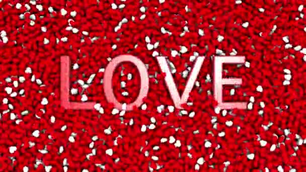 Love word jump and appear on many red and white colored small heart objects. Happy valentines day background.