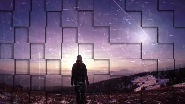 Artistic woman person stands on top of the hill with abstract digital cyberspace network. 3d square animation background.