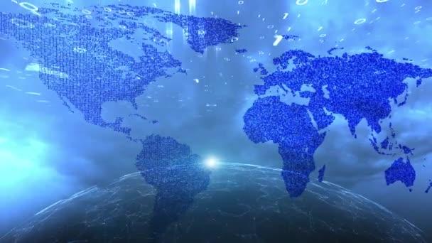 Tmavě modrá kyberprostoru síť s mapa světa a rotující zeměkoule pohybu pozadím.