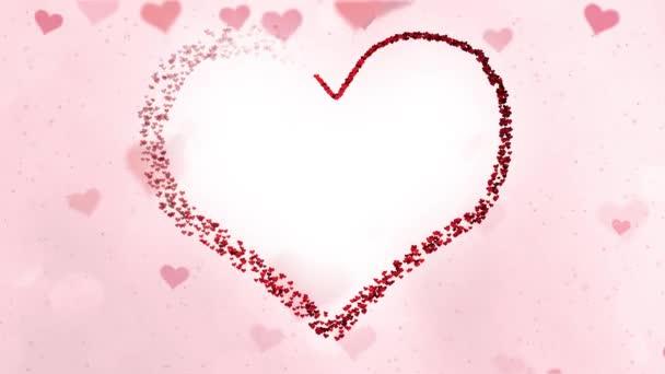 Abstraktní obrazce červené srdce ve tvaru velké Valenitines den srdce pohybu na světlé kopie prostoru pozadí.