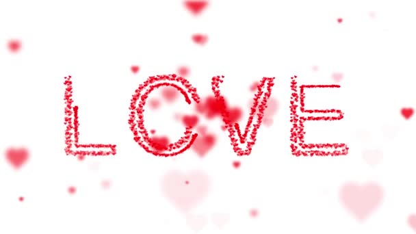 Lovely love word alphabets motion on valentines day decoration background