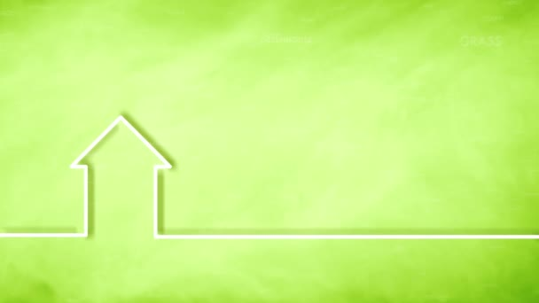 Eco green house icon on blurry copy space background.