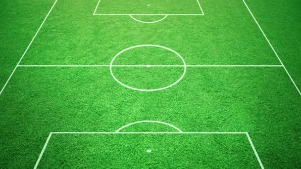 Soccer stadium field grass with soccer ball rolling.