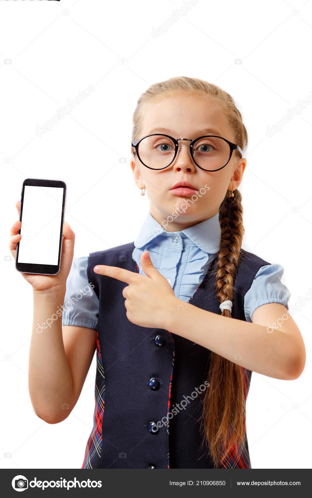 c67aca6d9ceb Little Girl Schoolgirl Glasses Holds Hands Phone Gesture Hand Point — Stock  Photo