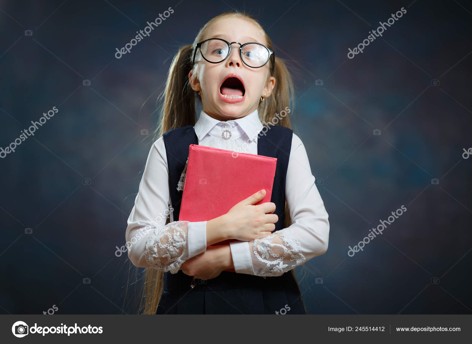 742ec5c5176b Intelligent Girl Wear Big Glasses and Traditional Uniform Shout Loud. Little  Child with Long Hair Ponytail Isolated on Dark Background — Photo by karpik- hoi