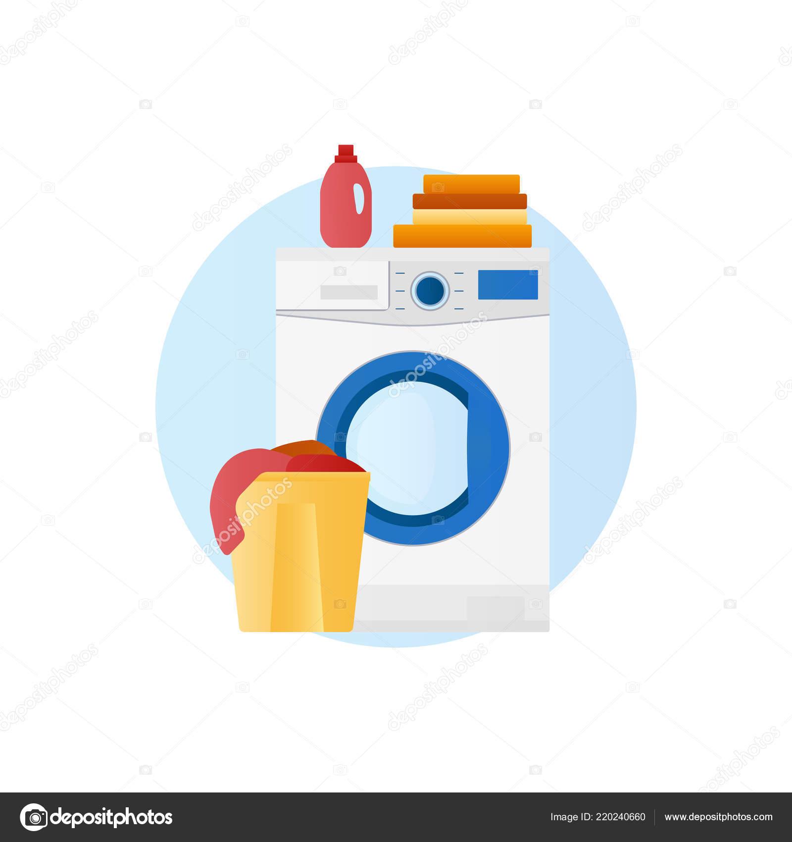 Waschmaschine Mit Korb Mit Bettwäsche Und Reinigungsmittel Symbol
