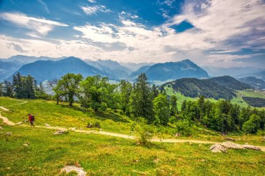 Swiss Alps near Burgenstock with the view of Lake Lucerne and Pilatus mountain, Switzerland, Europe.