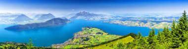 Beautiful view to Lucerne lake (Vierwaldstattersee ) and mountain Pilatus from Rigi, Swiss Alps, Central Switzerland