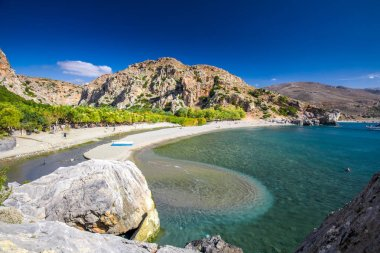Preveli beach on Crete island with azure clear water, Greece, Europe. Crete is the largest and most populous of the Greek islands.