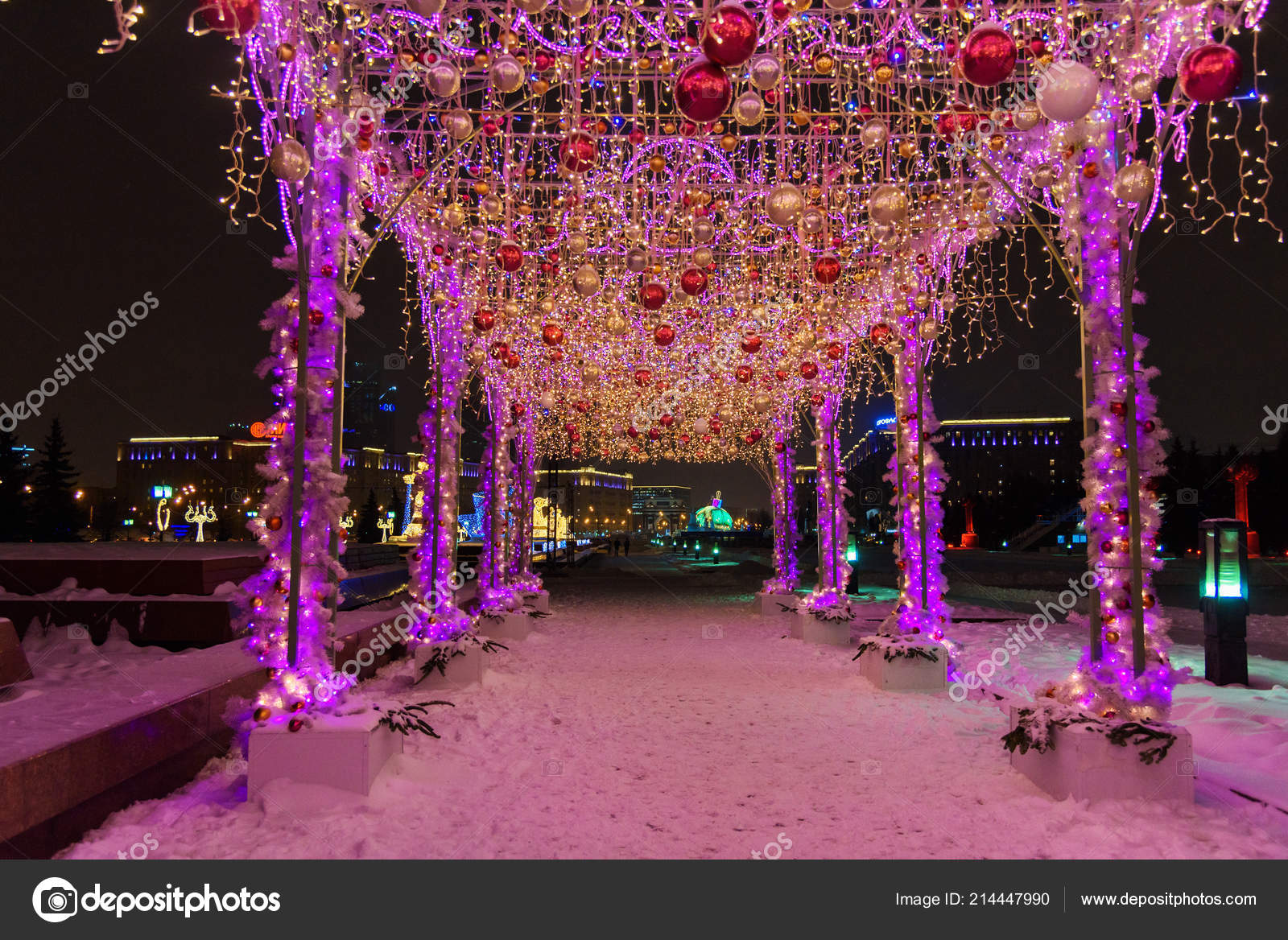 Moscow Russia January 2018 View Ton Light Ball Tent Decorated \u2014 Stock Photo & Moscow Russia January 2018 View Ton Light Ball Tent Decorated ...