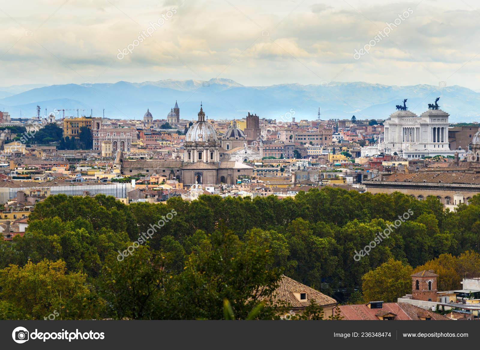 Arial View Rome City Janiculum Hill Terrazza Del Gianicolo
