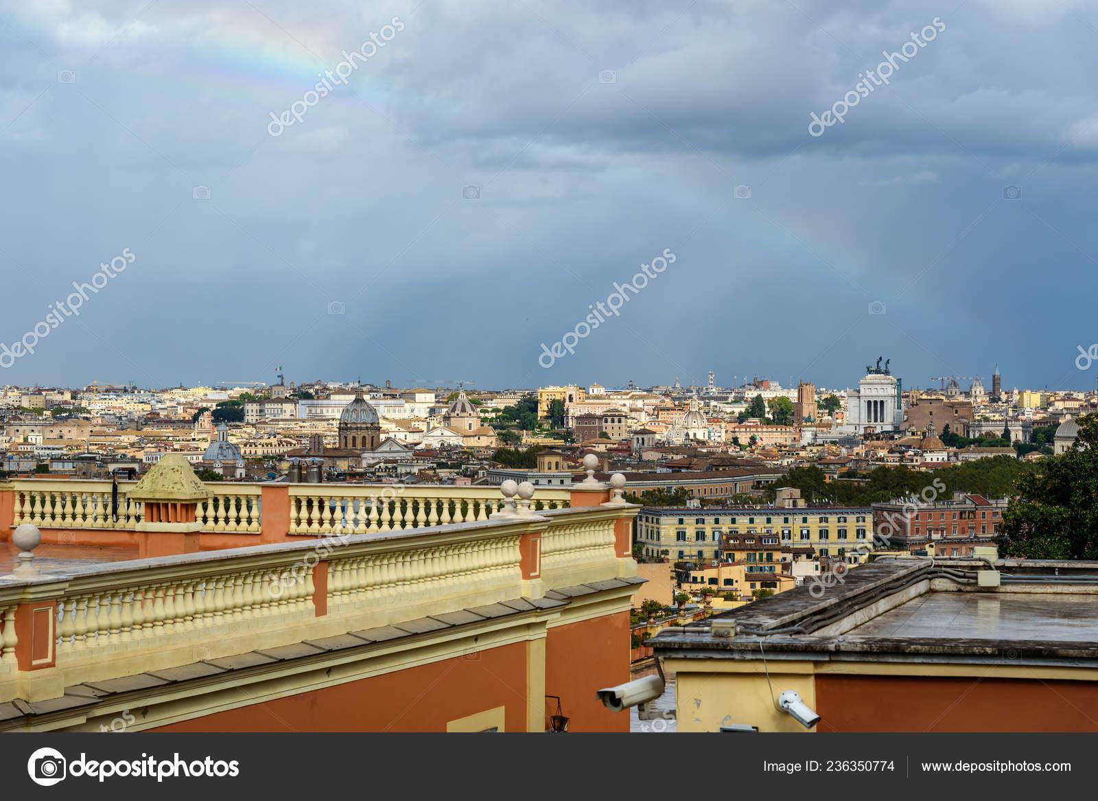Rainbow Rome Arial View Rome City Janiculum Hill Terrazza