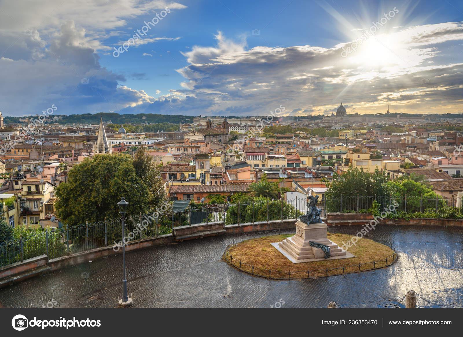 View Rome City Terrazza Viale Del Belvedere Italy Stock