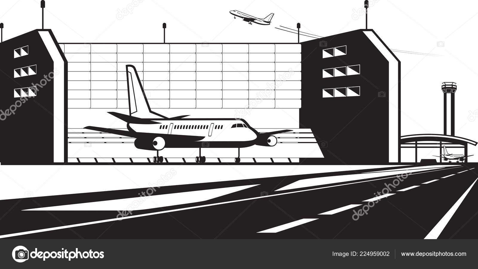 Banc Essai Moteur Avion Aéroport Illustration Vectorielle Image