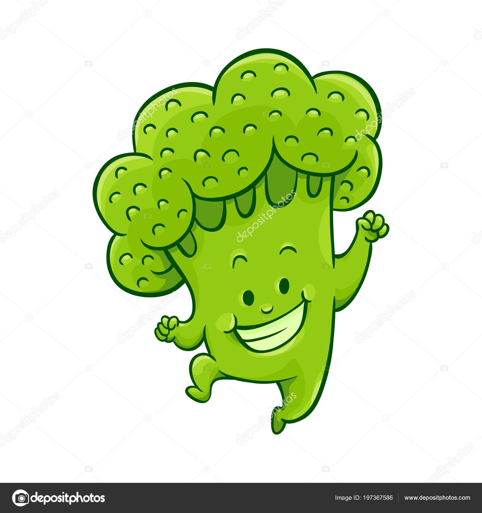 personagem de brócolis de desenho de vetor dançando vetores de