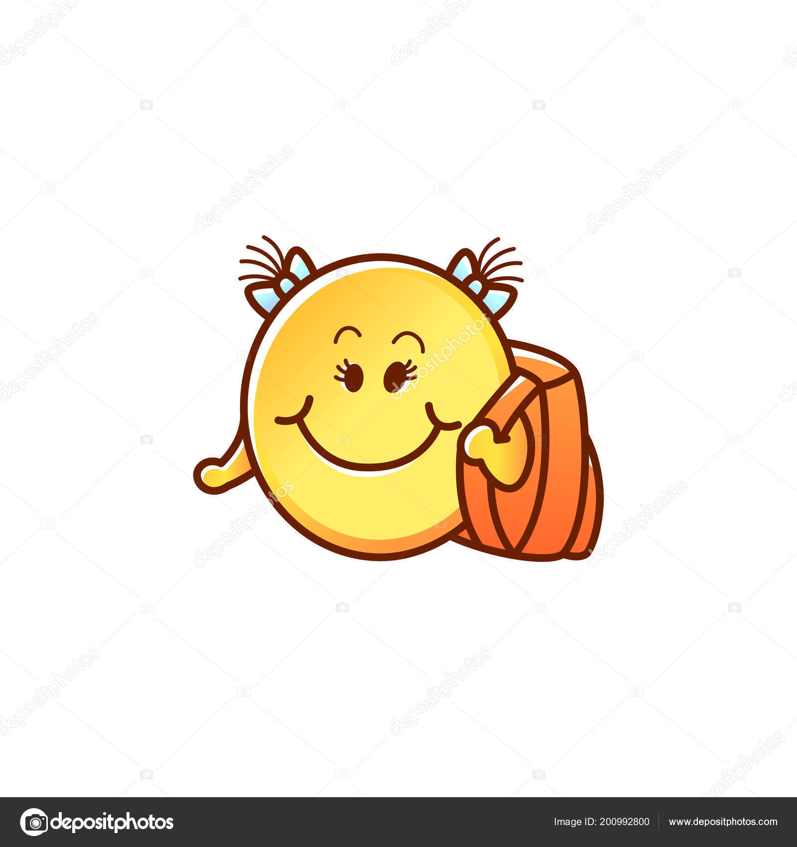 f27e5e9a1f Γελαστό πρόσωπο φοιτητή με σακίδιο - κορίτσι χαριτωμένο ευτυχισμένη  φατσούλα κίτρινο με μαλλιά τσαμπιά και σχολική τσάντα που απομονώνονται σε  λευκό φόντο.