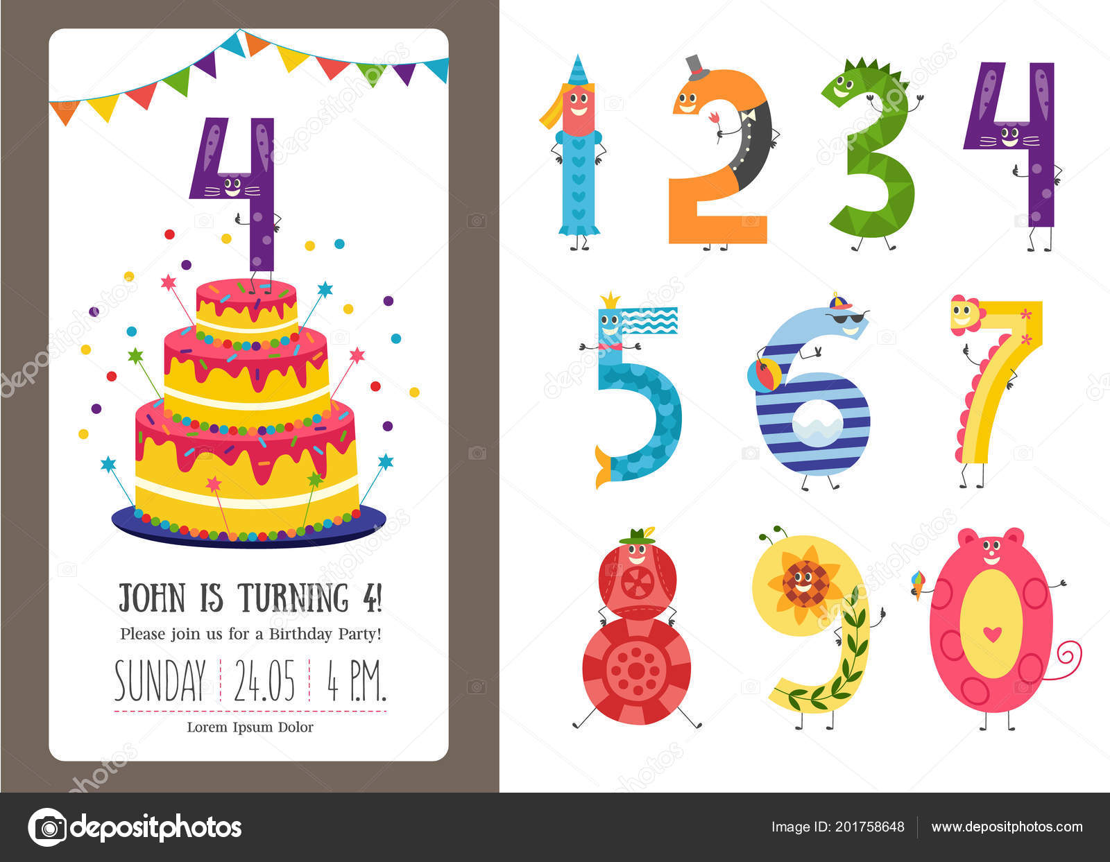 Birthday anniversary cartoon numbers and invitation card template birthday anniversary cartoon numbers and invitation card template set vetores de stock stopboris Images