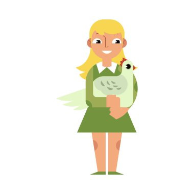 Kid girl hugging chicken with love - flat cartoon character of caucasian child embracing domestic hen.