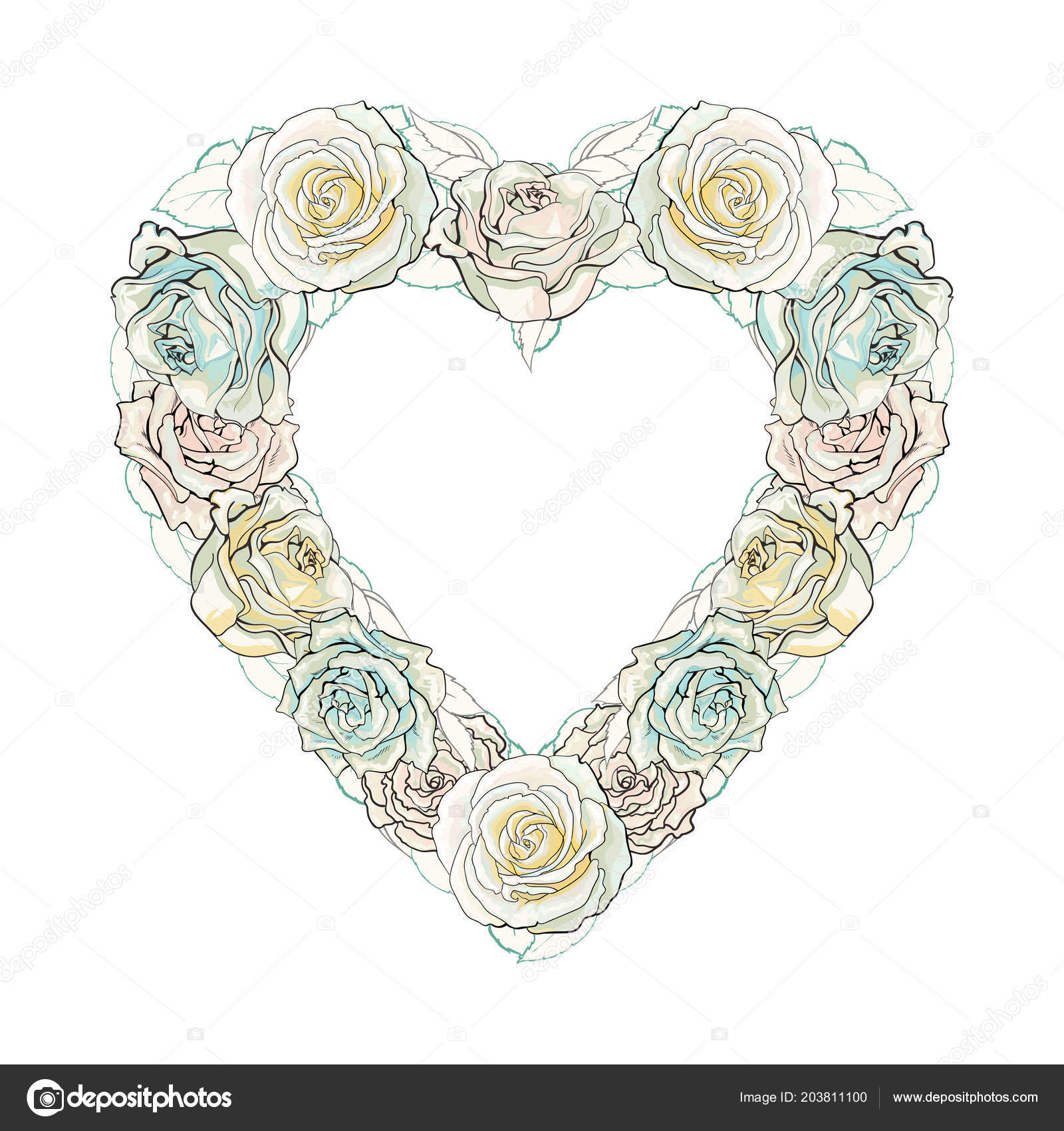 Vector Hand Drawn White Rose Heart Shape Frame Stock Vector