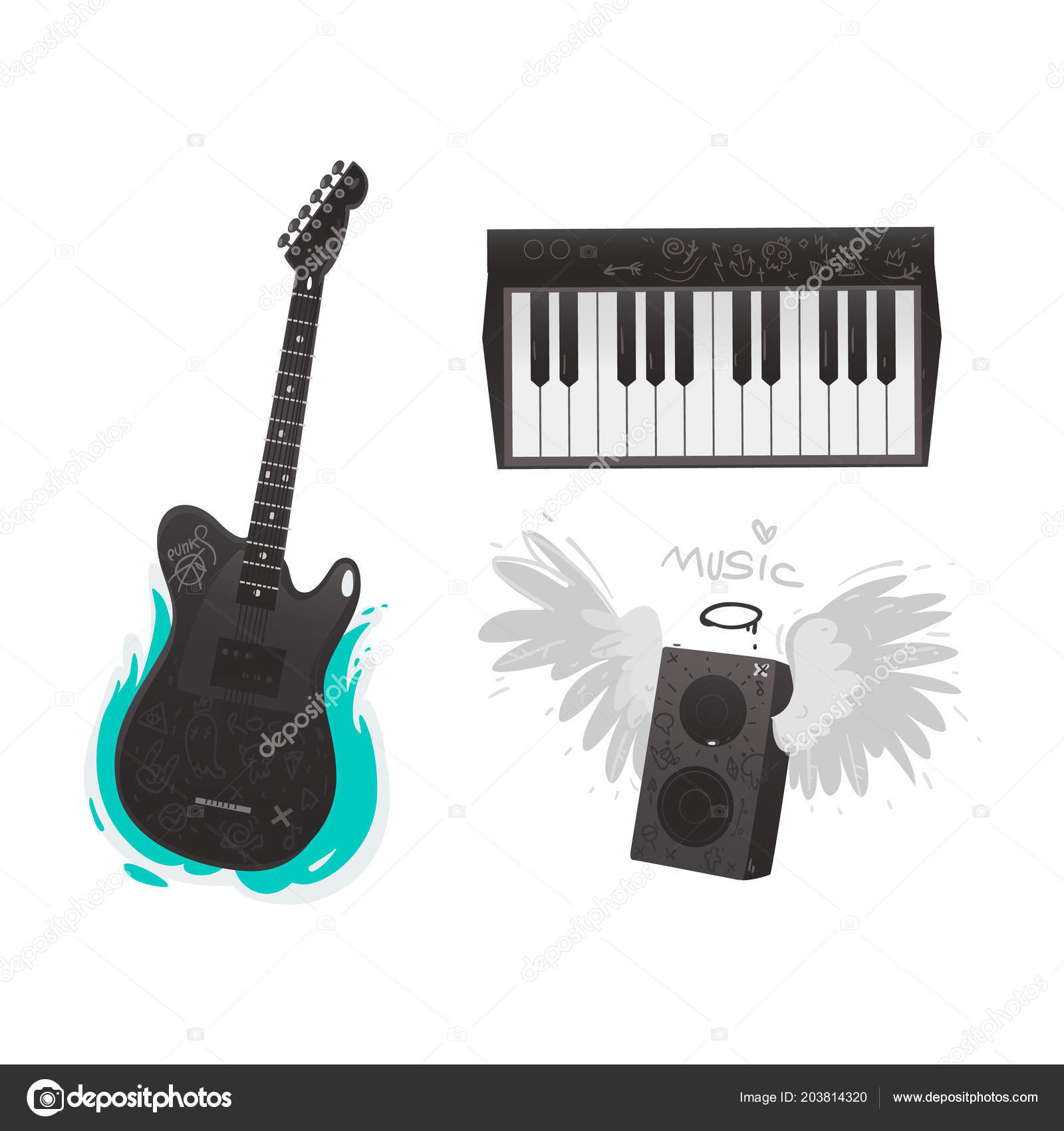 Vector Flat Music Symbol Piano Guitar Loudspeaker Stock Vector