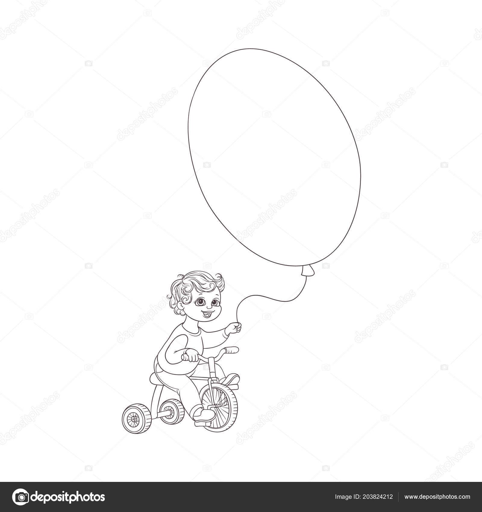 Vektör Düz çocuk çocuk Bisiklet Hava Balonları Sürme Stok Vektör