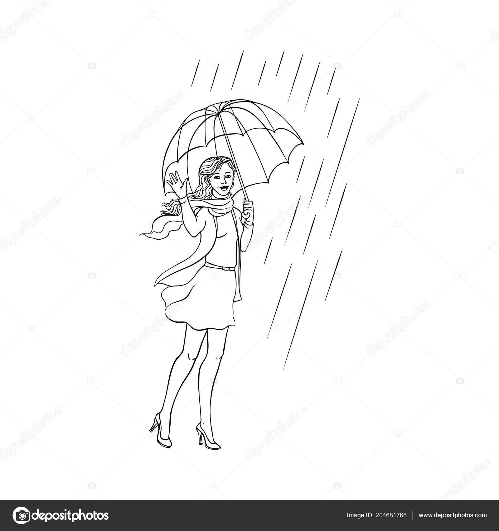 Vektör çizim Genç Kadın Yürüyen şemsiye Yağmur Stok Vektör