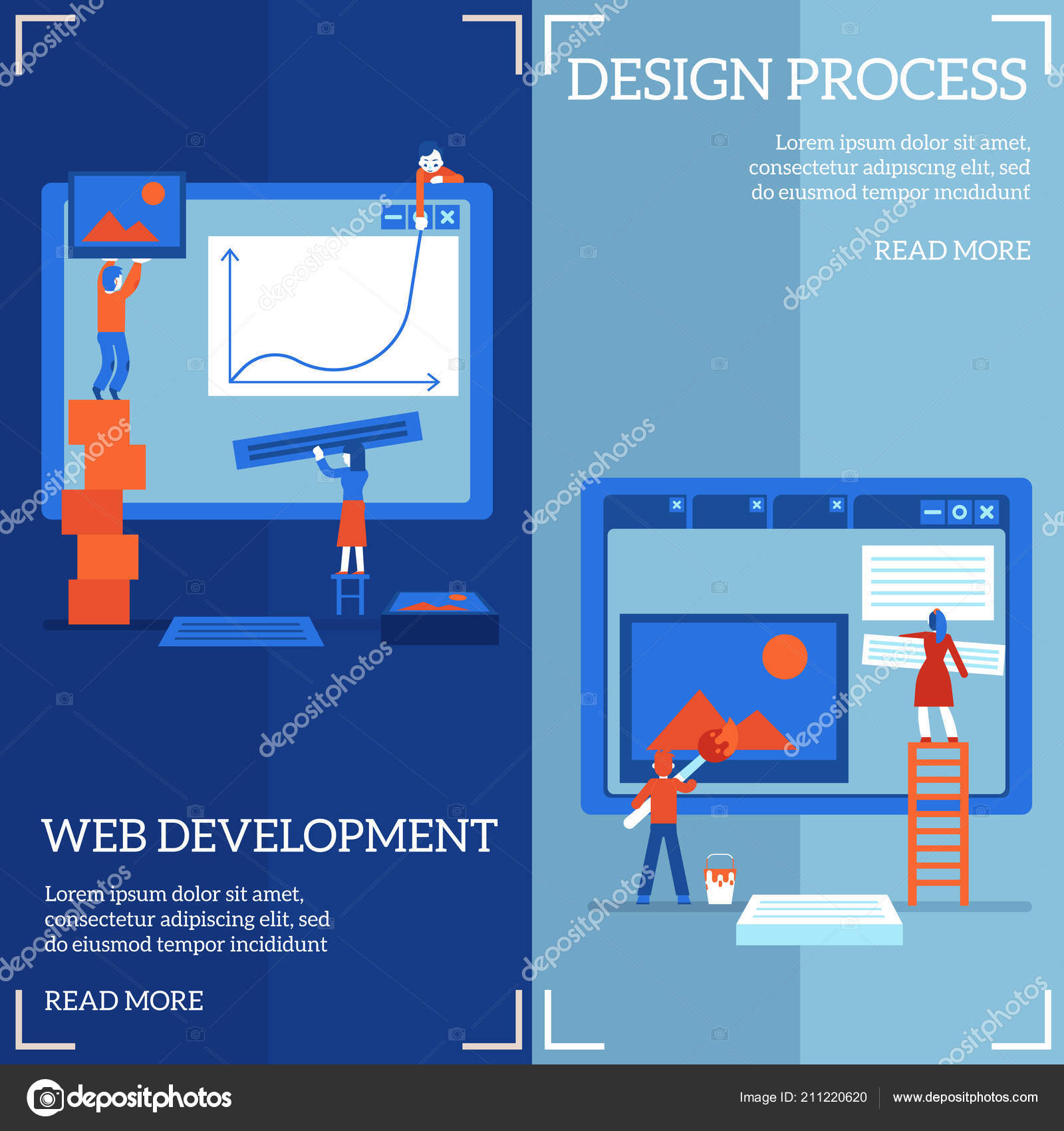 Web site design and development process on vertical banners set