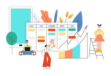 Vector illustration of scrum planning technique of teamwork on software development.
