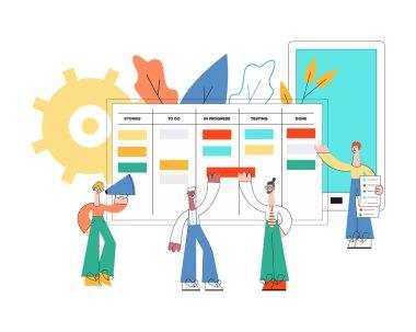 Vector illustration of scrum planning technique of teamwork concept.