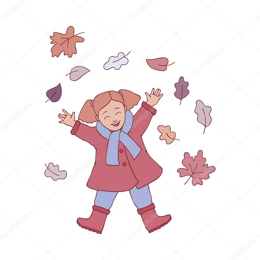 Vector illustration of kid girl playing with autumn leaves in sketch style.