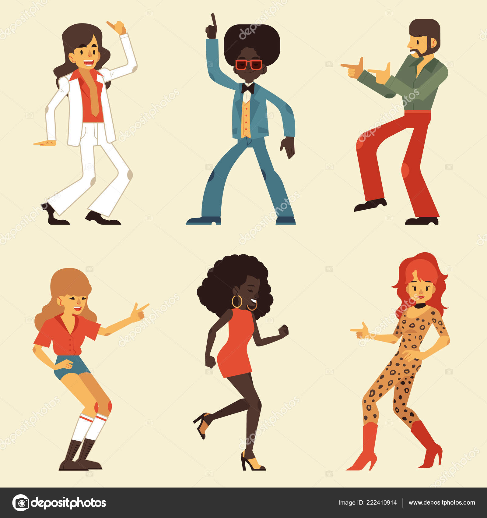 Wektor Zestaw Ilustracji Dancing Retro Osób Disco Lat 70