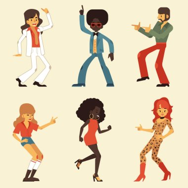 Vector illustration set of dancing retro disco people wearing clothes and hairstyles in 70s style.