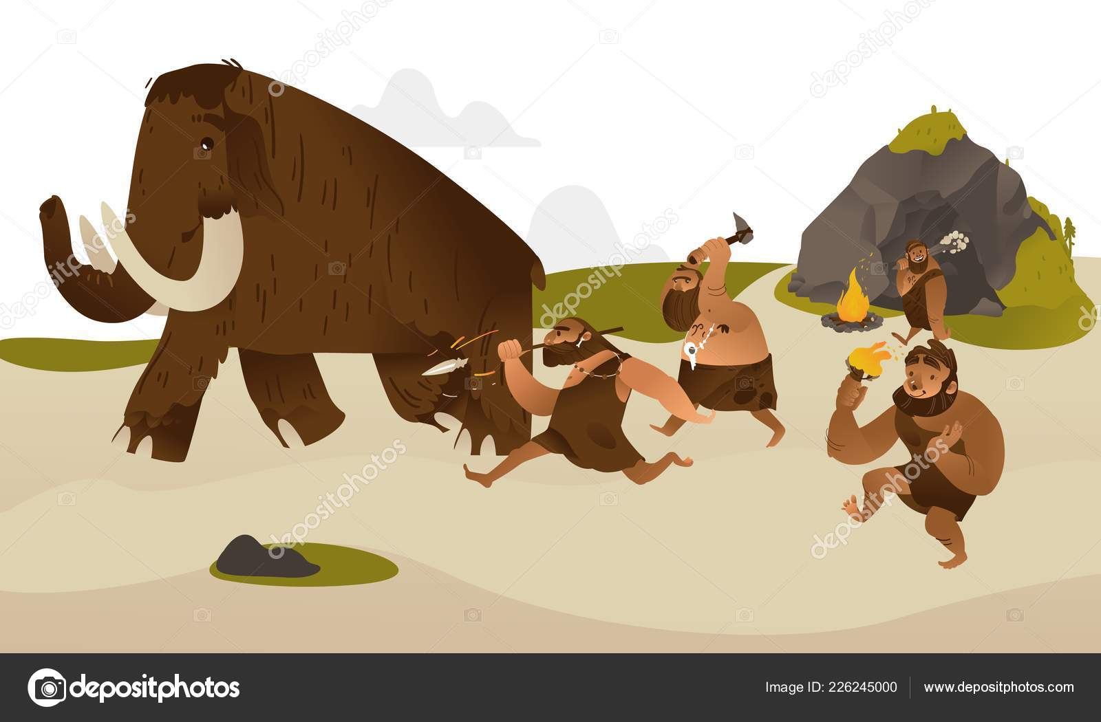 Uomo delle caverne antica con armi preistoriche a caccia di mammut