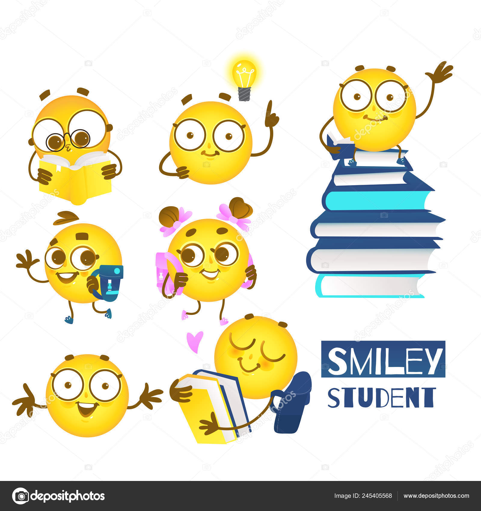 Smiley Emoticon Etudiant Ensemble De Boules Emoji Mignon