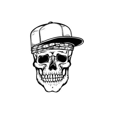 Human skull in hip-hop or rap style headwear - bandana and baseball cap in sketch style isolated on white background.