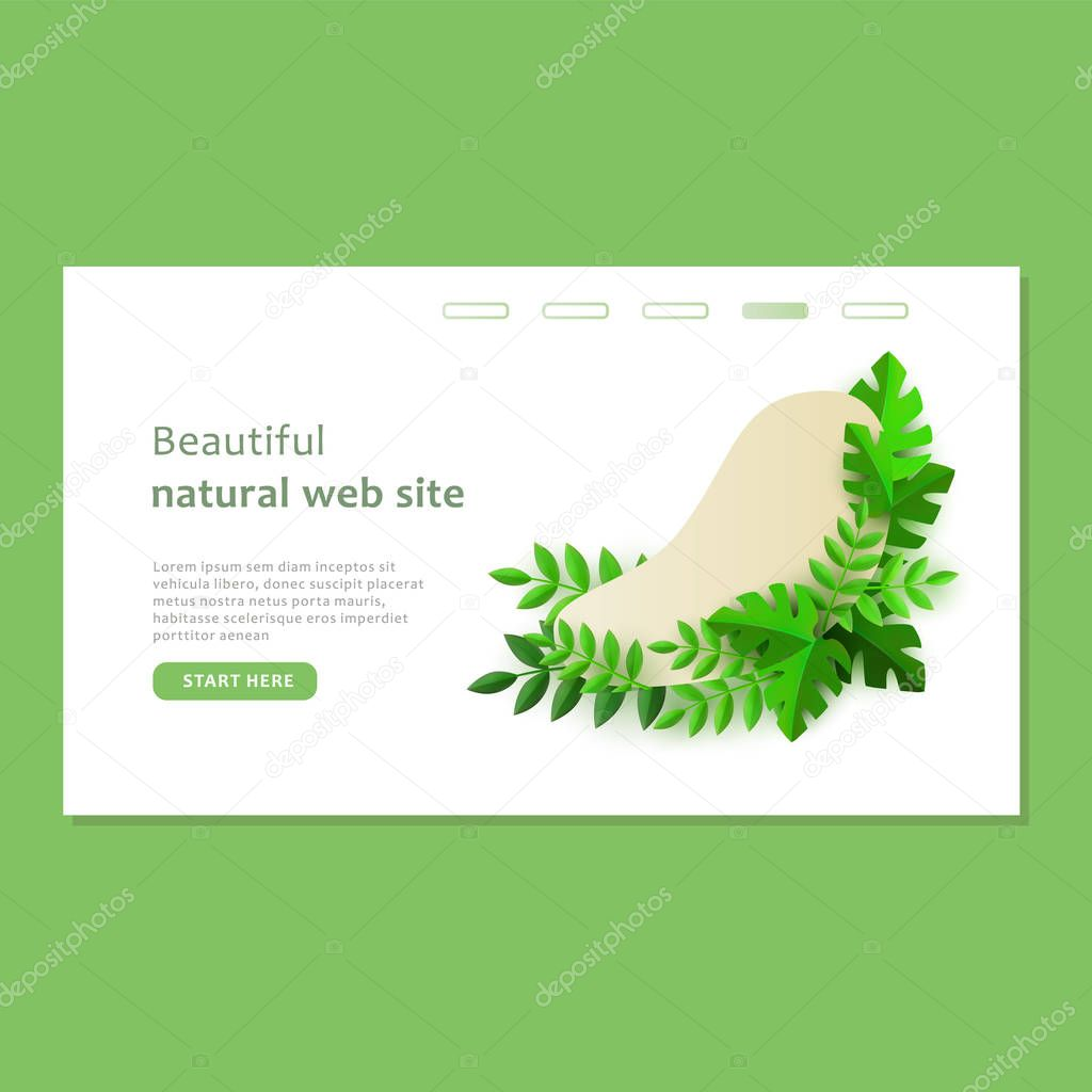 Green eco plants around the shape on the web site template.