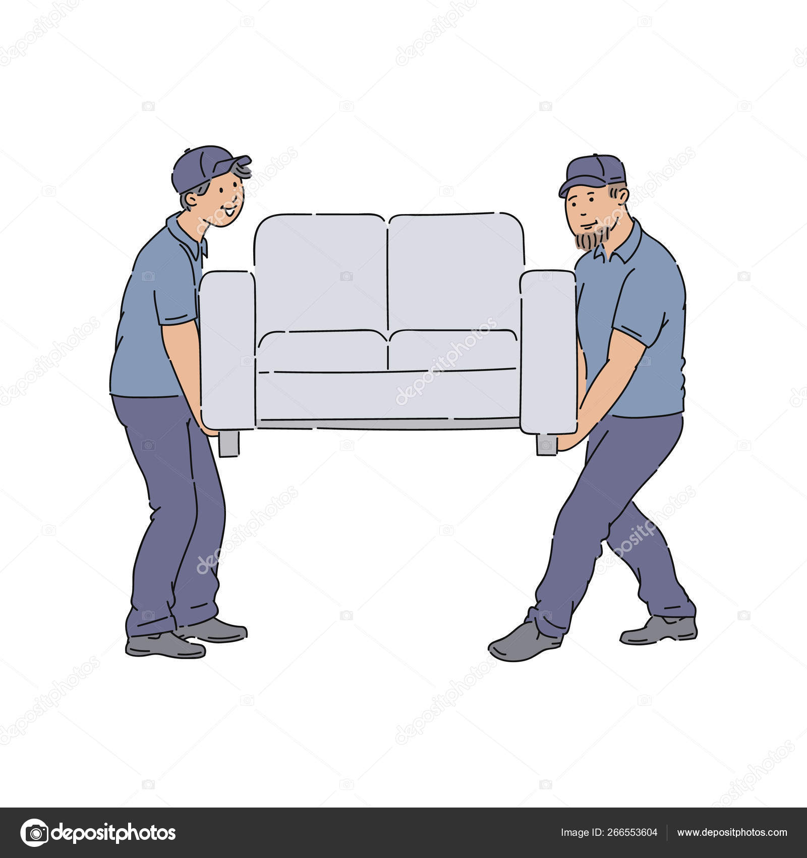 Couch Delivery: Delivery People Moving A Couch, Young Service Men With