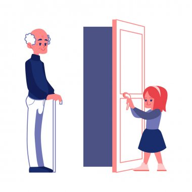 Polite girl opening the door to an elderly man flat vector Illustration isolated.
