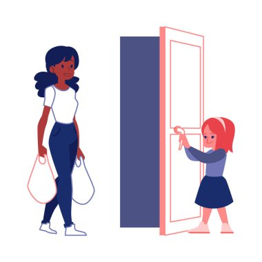 Polite courteous child open a door for woman flat vector illustration isolated.